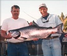 Buddy fishing caught a Summer Chinook Salmon with Ron Smith guided fishing